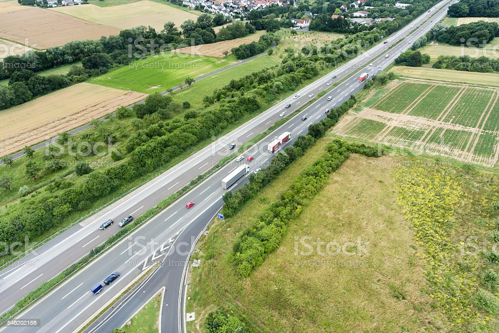 Aerial view of highway motorway access stock photo