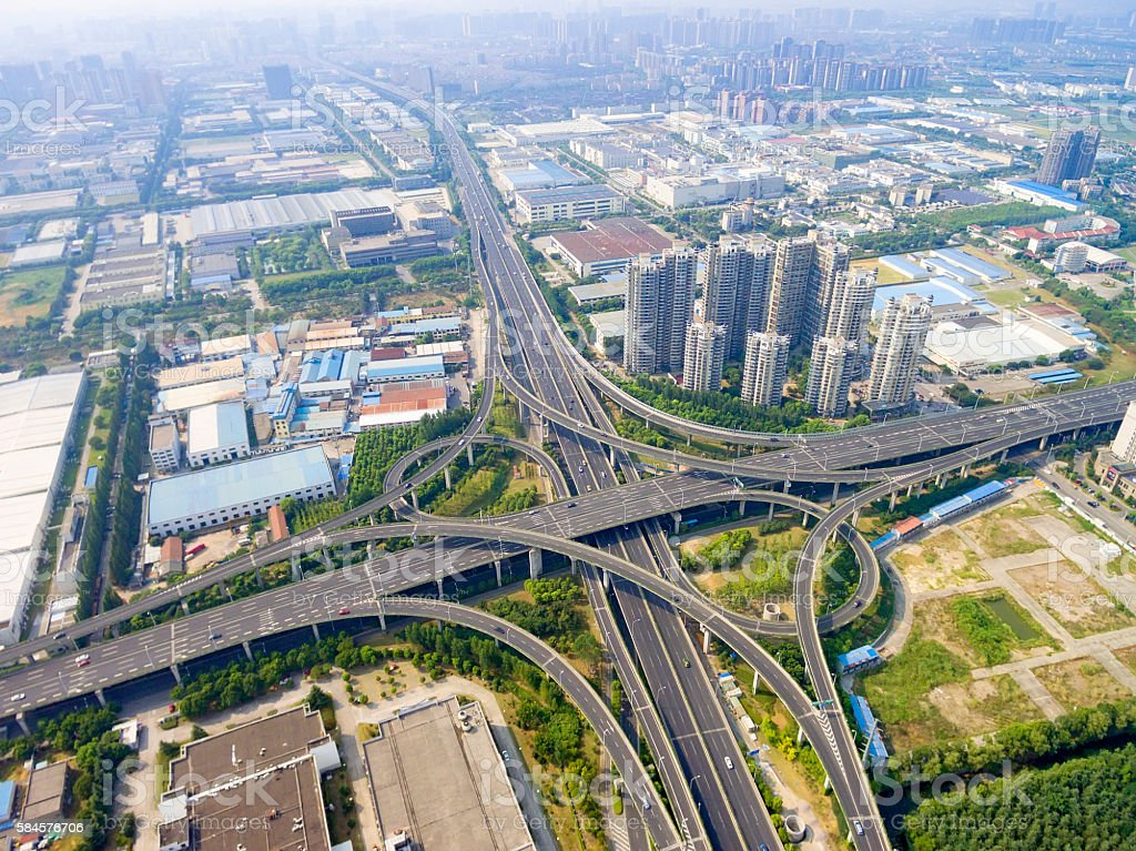 Aerial view of highway overpass stock photo