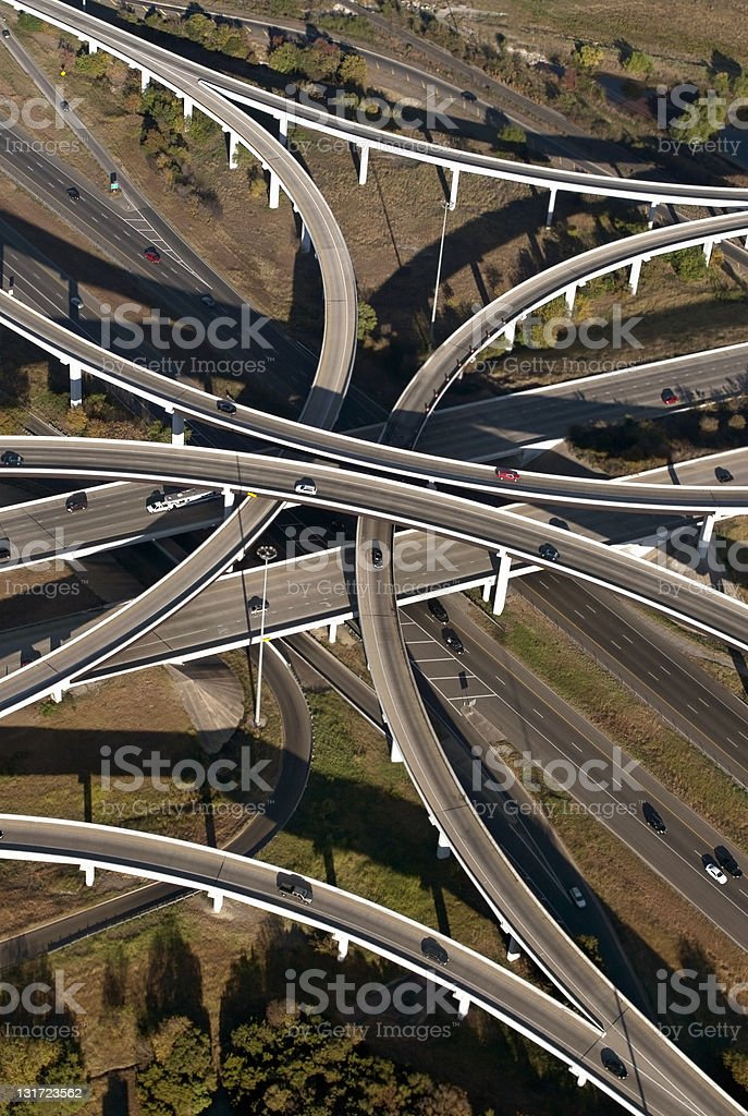 Aerial View of Highways in Austin, Texas royalty-free stock photo