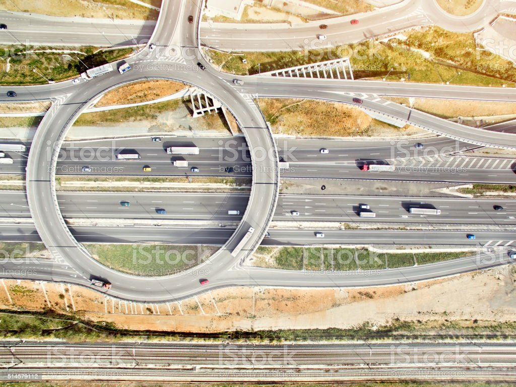 Aerial view of highways stock photo