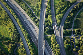 Aerial view of highways through green nature