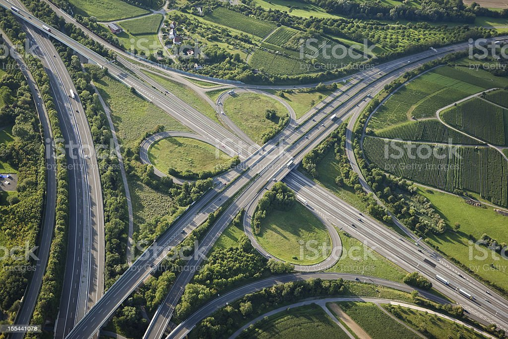 Aerial view of highways through green nature royalty-free stock photo