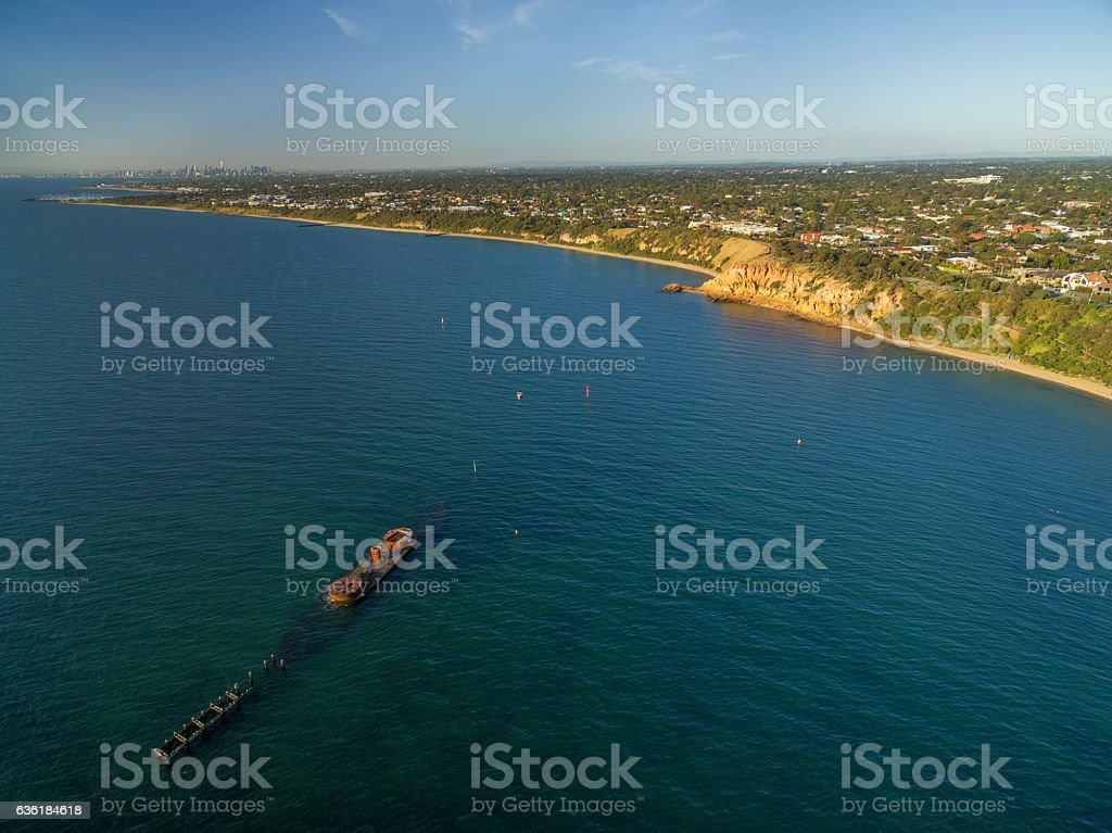 Aerial view of historic shipwreck of HMVS Cerberus at sunset stock photo