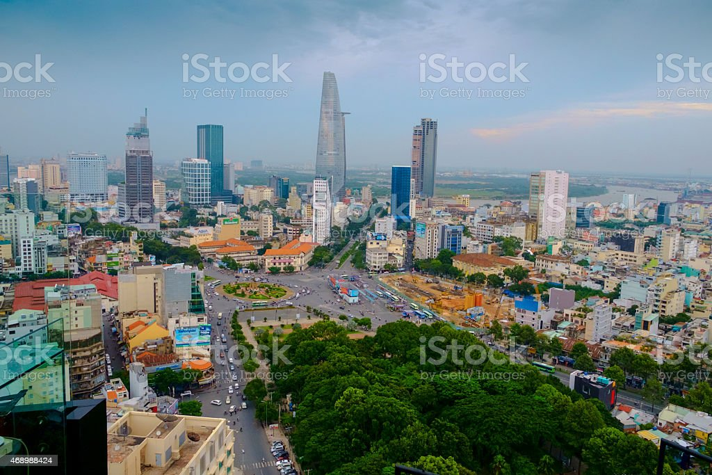 Aerial view of Ho Chi Minh City against blue sky stock photo