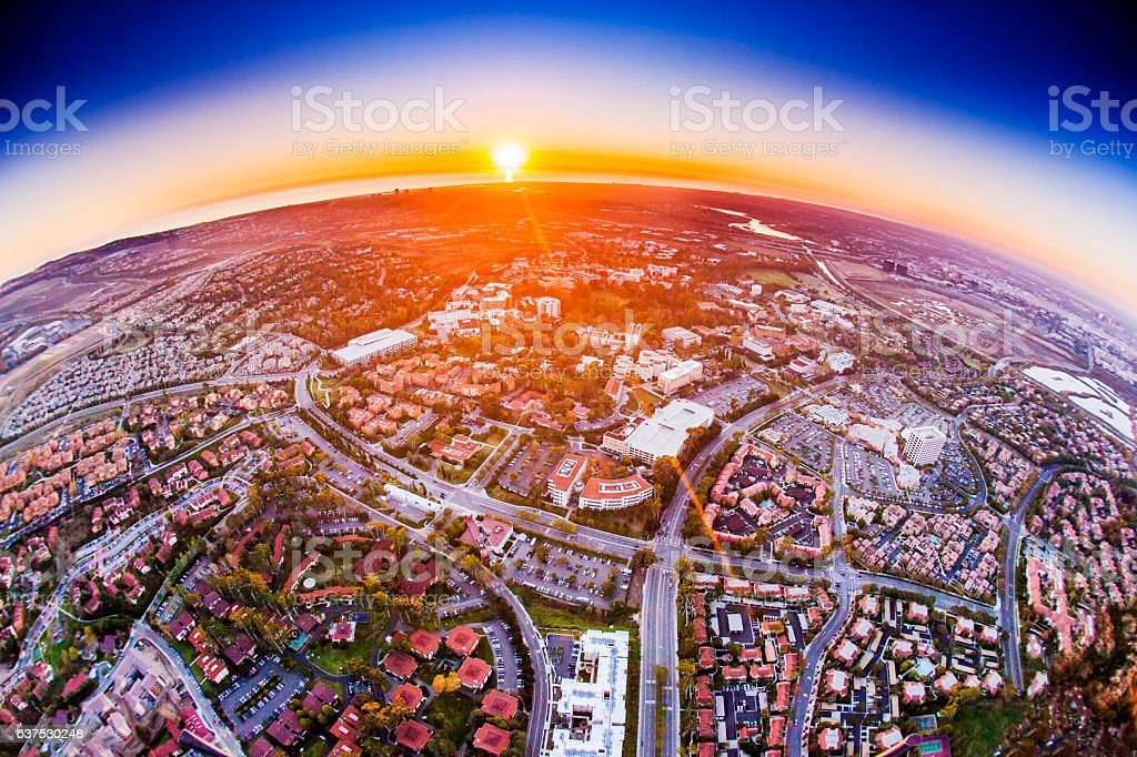 Aerial View of Homes and California Coast stock photo