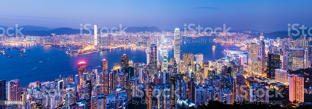 Aerial view of Hong Kong City Skyline at Sunset China stock photo