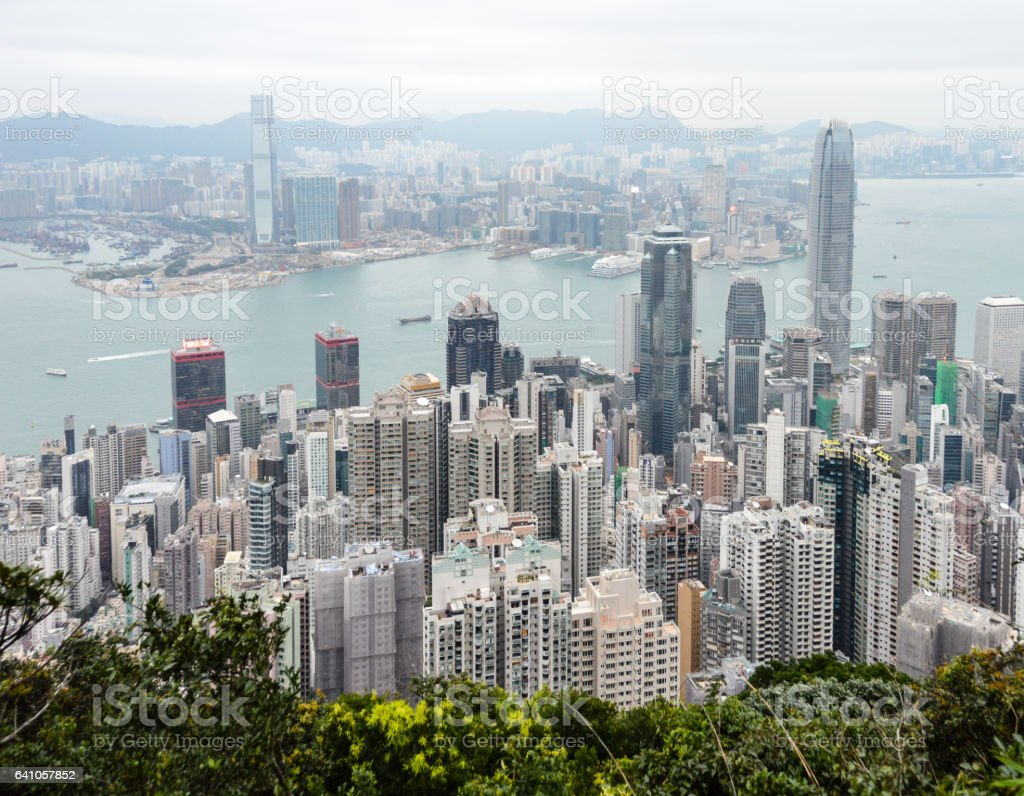 Aerial view of Hong Kong cityscape stock photo