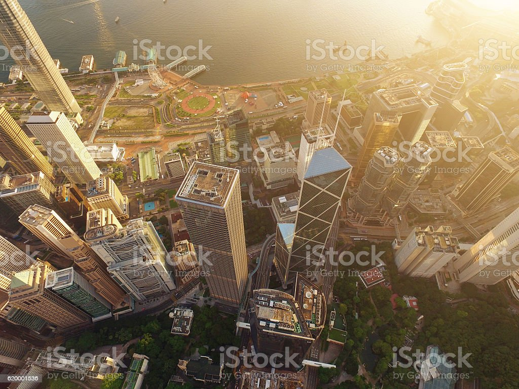 Aerial view of Hong Kong Skyscraper in sunset stock photo
