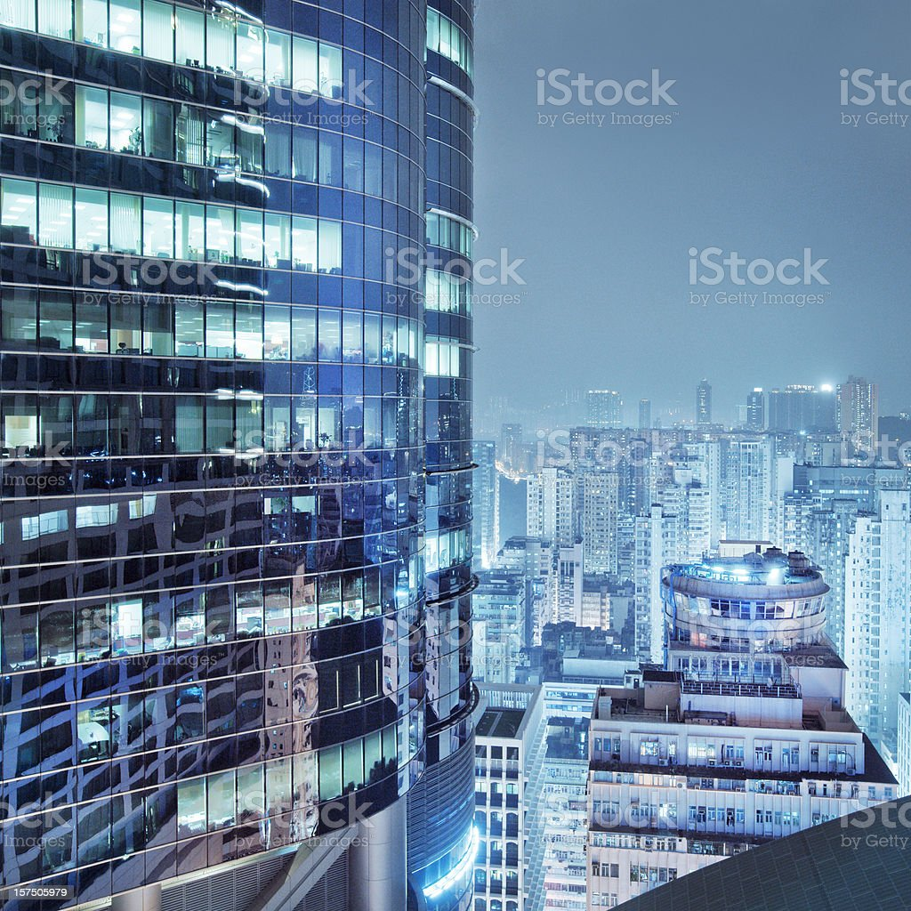 Aerial view of Hong Kong skyscrapers at night stock photo