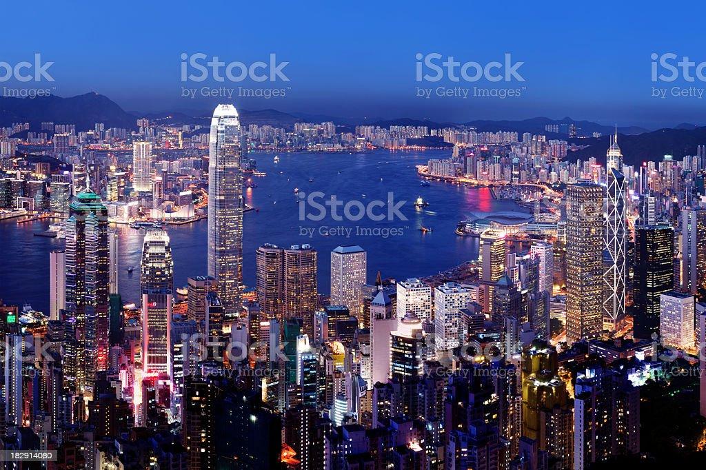 Aerial view of Hong Kong Victoria Harbor at night stock photo