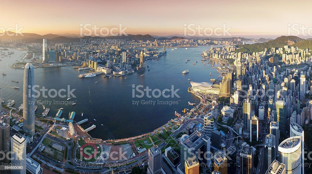 Aerial view of Hong Kong, Victoria harbour in sunset stock photo