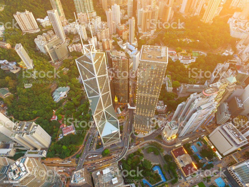 Aerial view of Hong Kong's Central District Skyscrapers stock photo