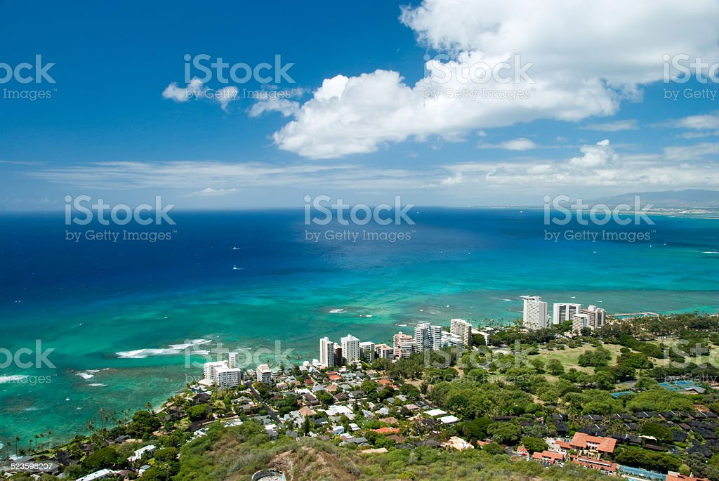Aerial view of Honolulu and Waikiki beach from Diamond Head stock photo