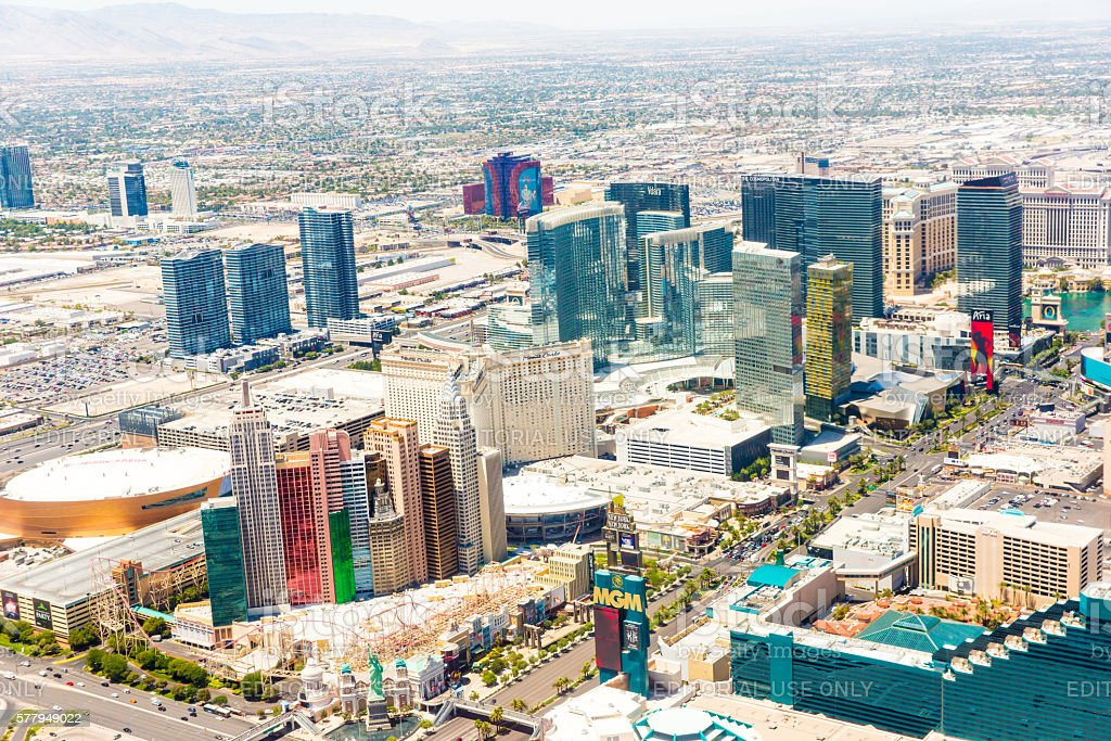 Aerial view of hotels and casinos in Las Vegas, Nevada stock photo