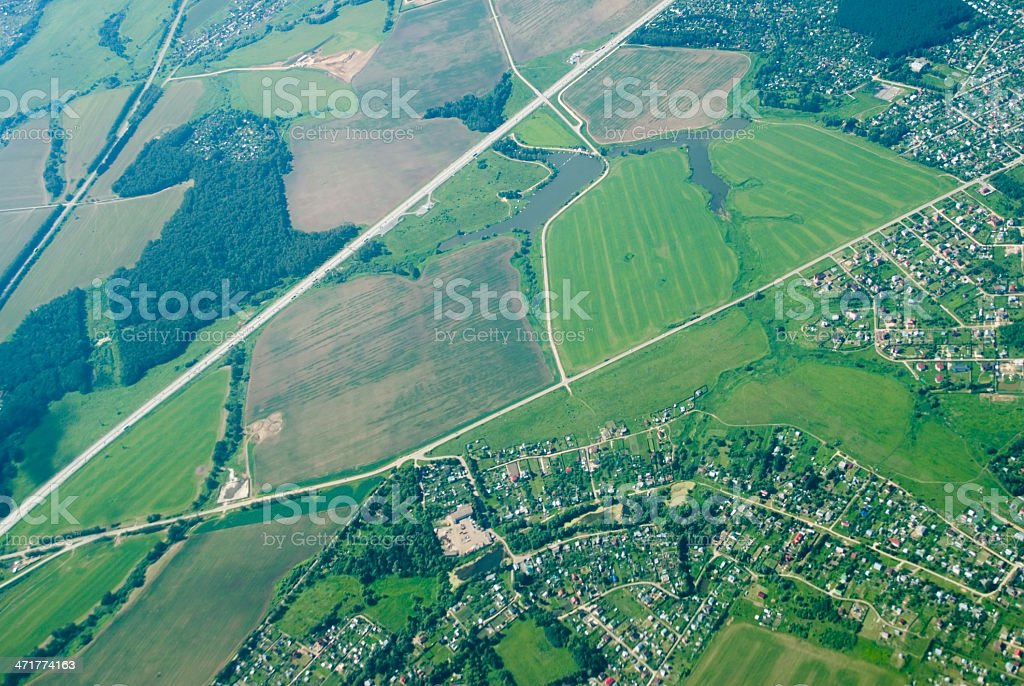 aerial view of houses and... royalty-free stock photo