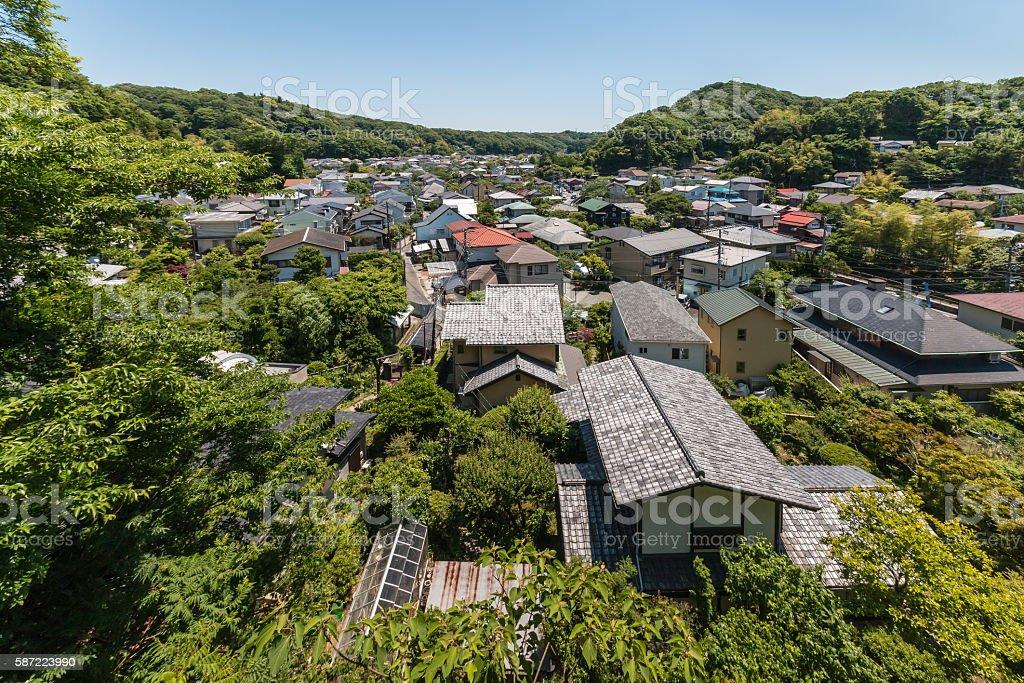 aerial view of houses in historic Kamakura stock photo