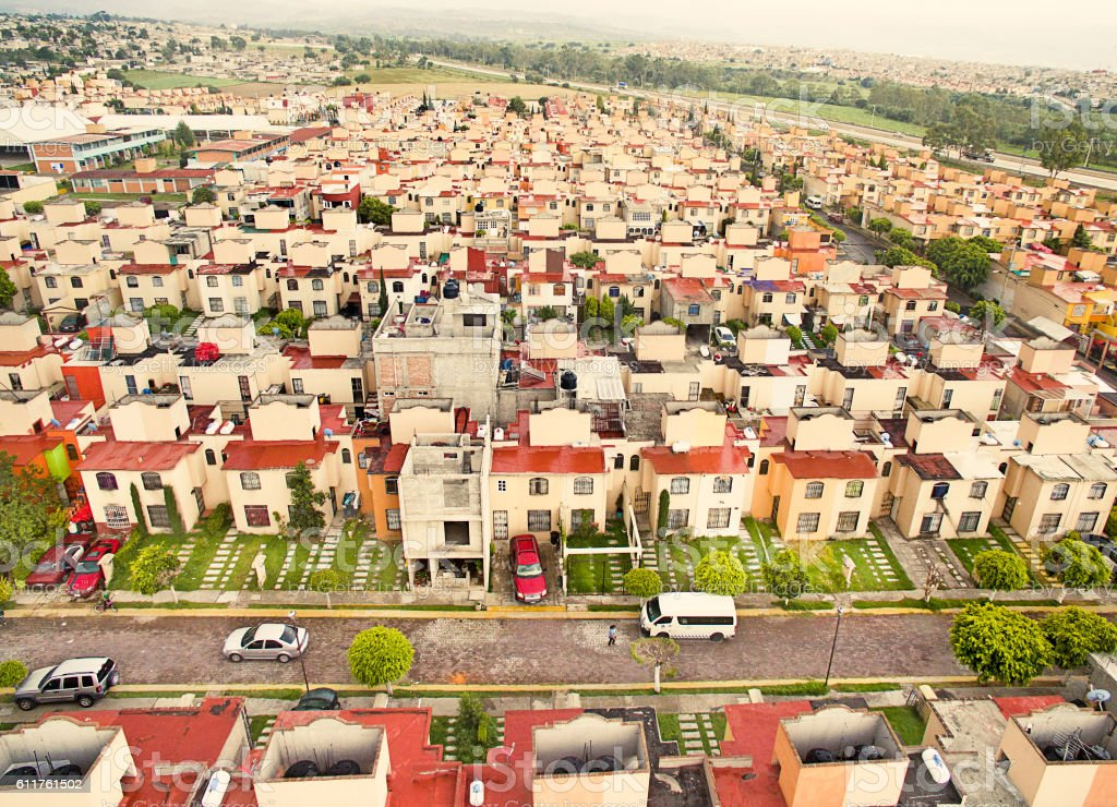 Aerial view of houses in Mexico stock photo