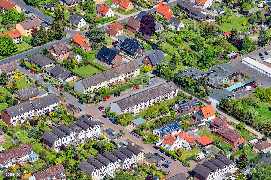Aerial view of Housing development in Celle , Germany stock photo