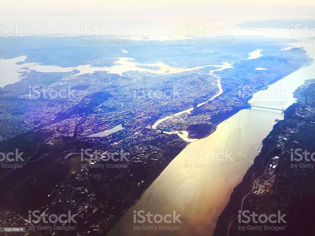 Aerial View of Hudson River, George Washington Bridge stock photo
