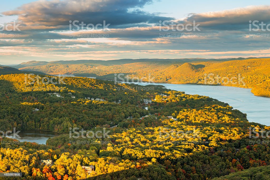 Aerial view of Hudson Valley stock photo
