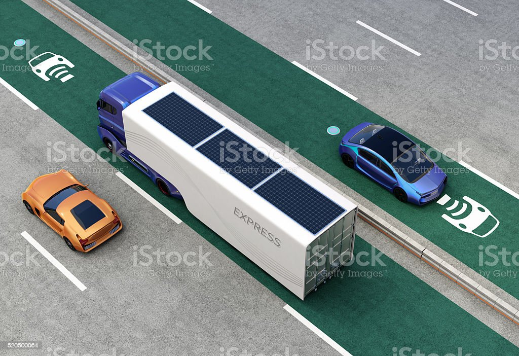 Aerial view of hybrid truck and blue electric car stock photo