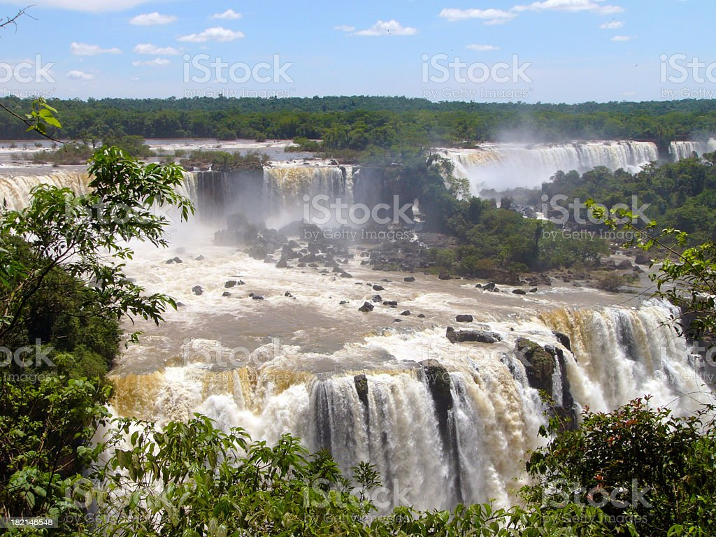 Aerial view of Iguaza waterfalls in jungle royalty-free stock photo