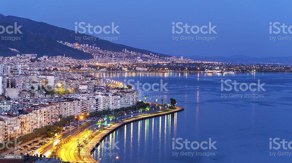 Aerial view of illuminated Izmir near the Bund at night stock photo