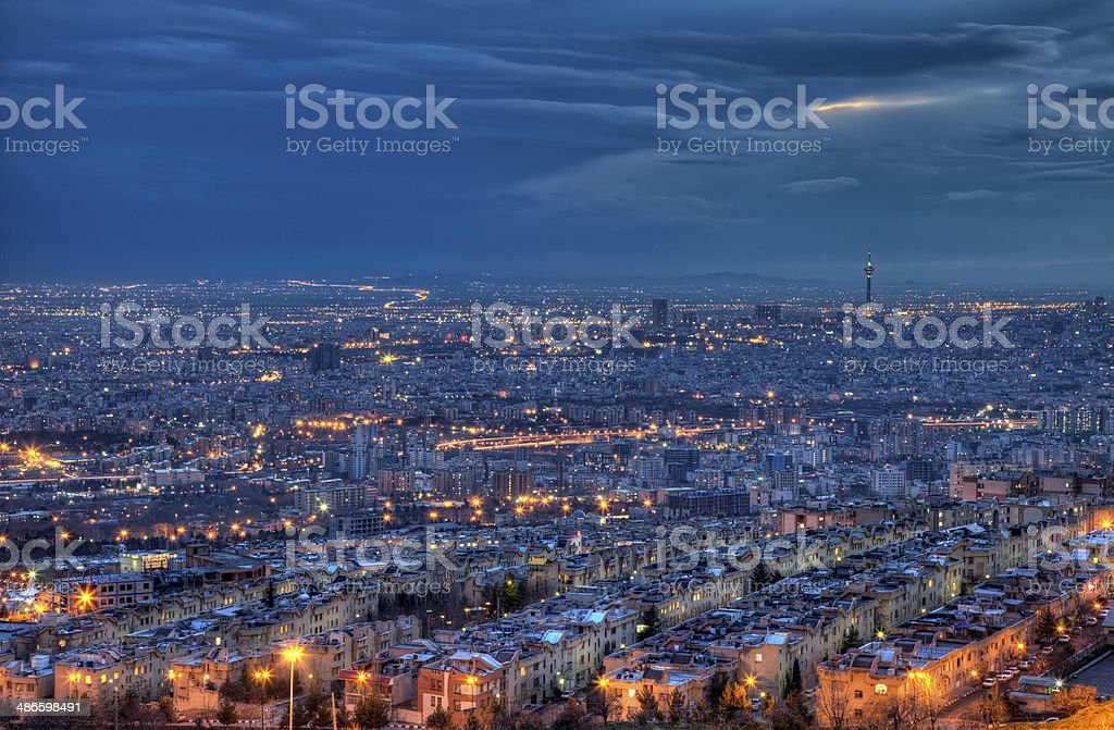 Aerial View of Illuminated Tehran Skyline at Night stock photo