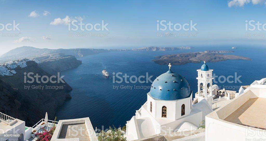 Aerial view of Imerovigli church in Santorini in Greece stock photo