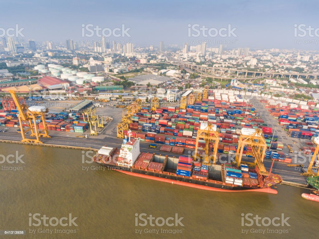 Aerial view of Industrial and Container ship logistic the harbor stock photo