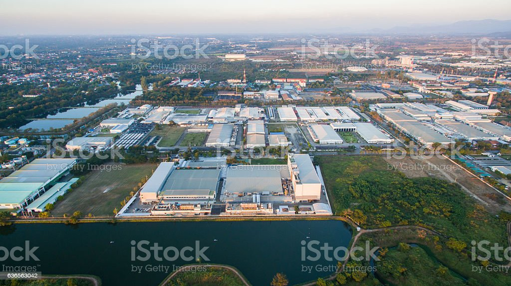 Aerial view of Industrial Estate northern thailand. stock photo