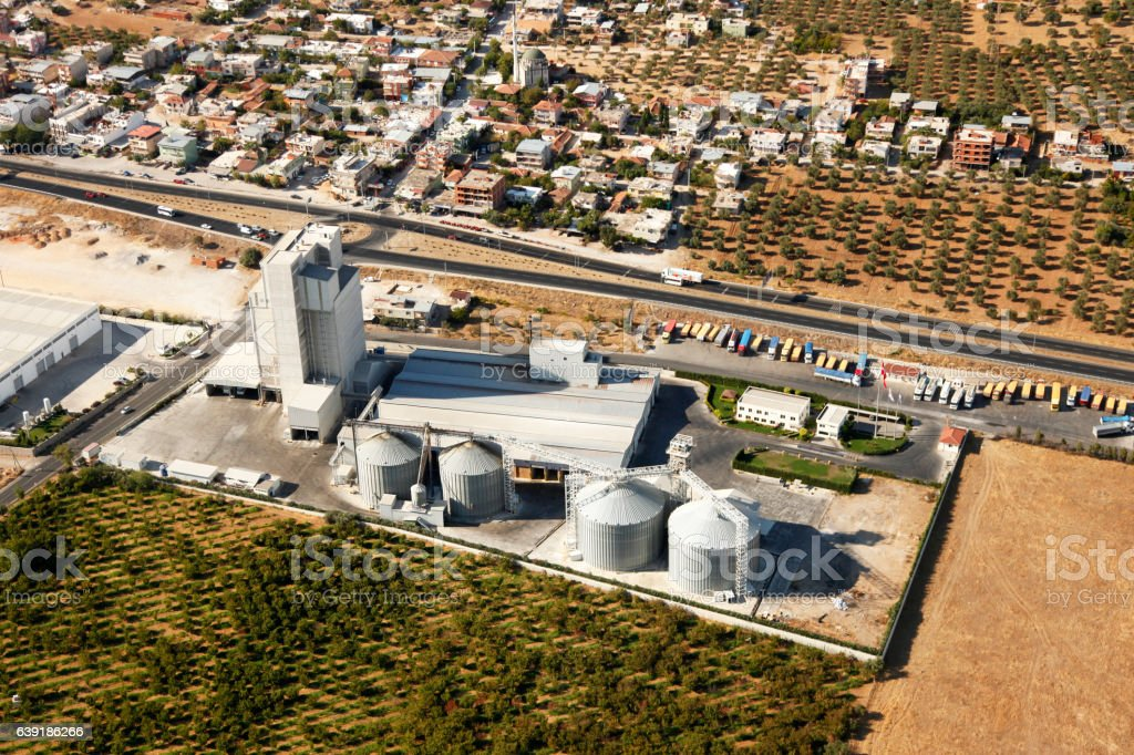 Aerial View of Industrial Petrol Zone stock photo