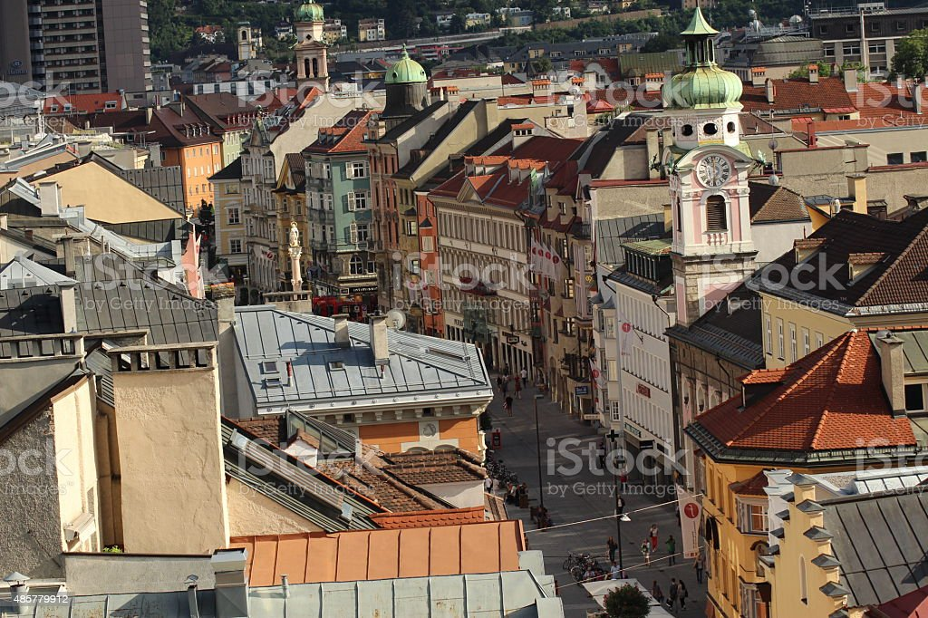 Aerial view of Innsbruck, Austria stock photo