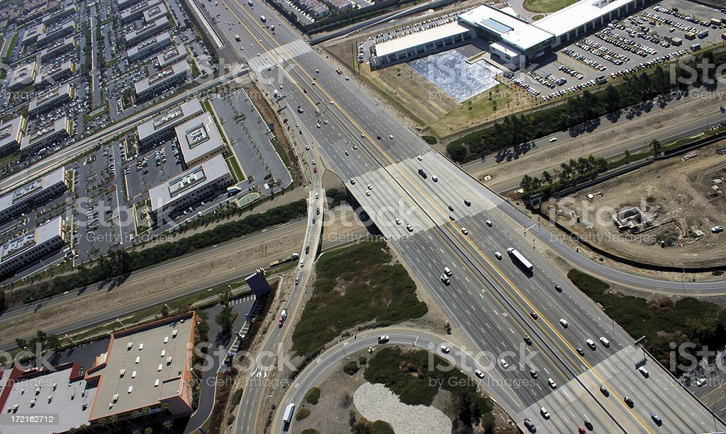 Aerial view of interchange royalty-free stock photo