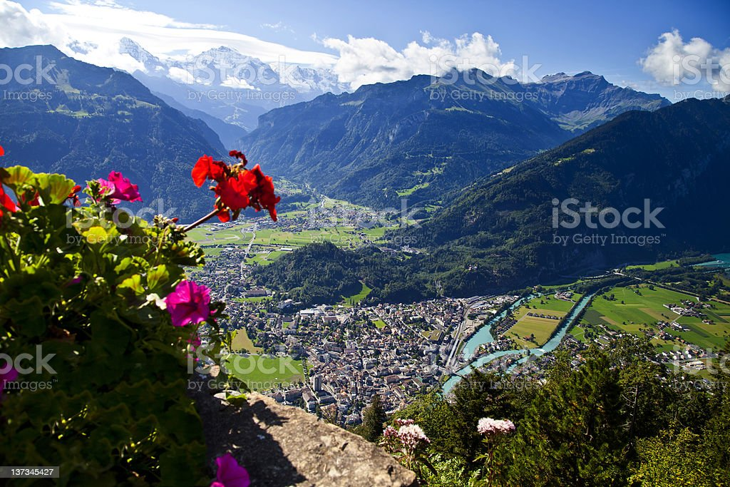 Aerial view of Interlaken, Switzerland stock photo