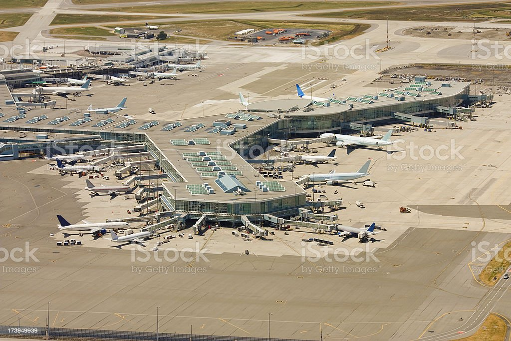 Aerial view of International Airport. stock photo