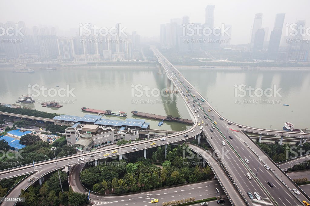 Aerial View of Intersection Road stock photo