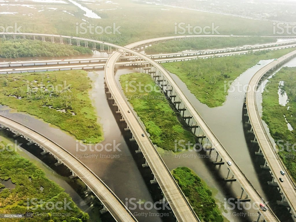 Aerial view of interstate 10 near New orleans stock photo