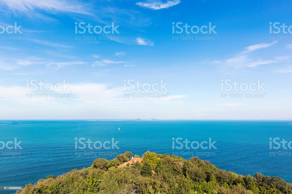 aerial view of island and the sea stock photo