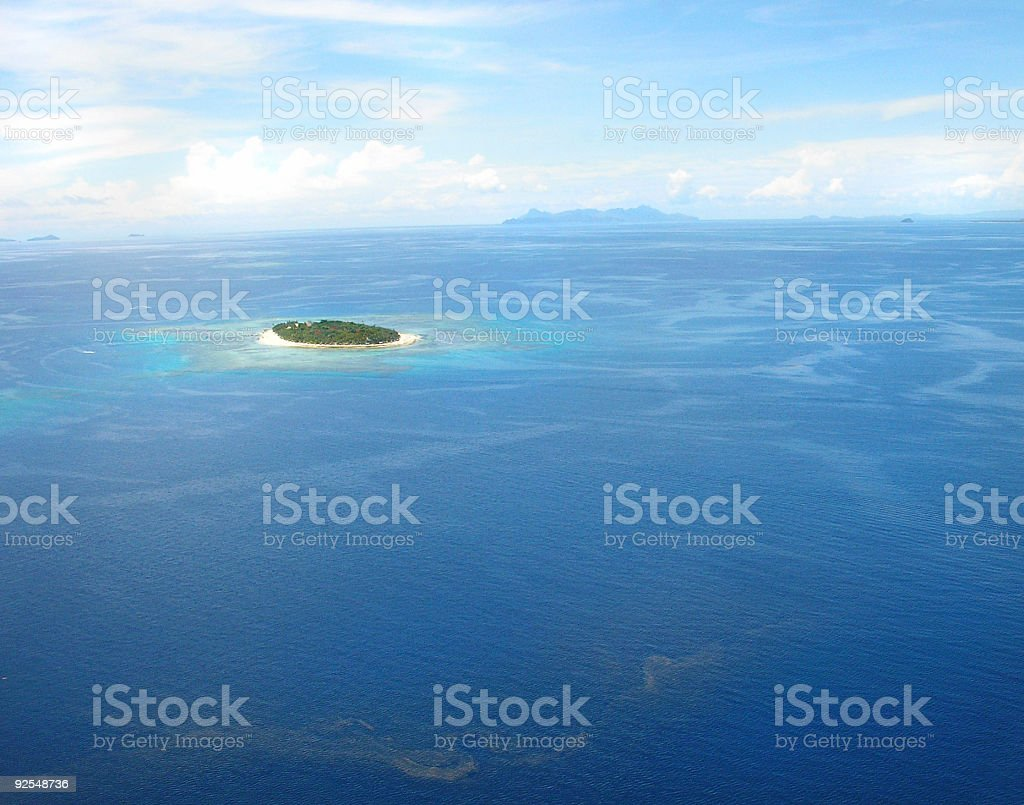 Aerial view of islands of Fiji during a sunny day royalty-free stock photo