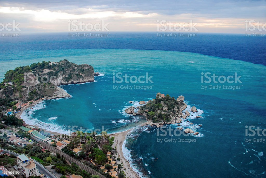 Aerial view of Isola Bella beach coast in Taormina, Sicily stock photo
