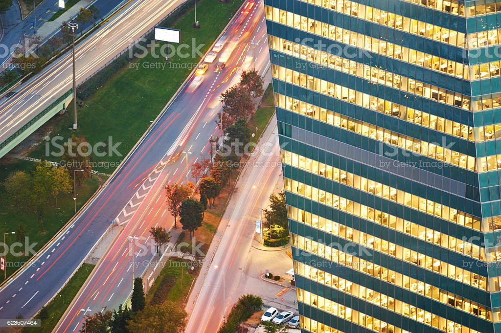Aerial View of Istanbul Traffic and road Intersection stock photo