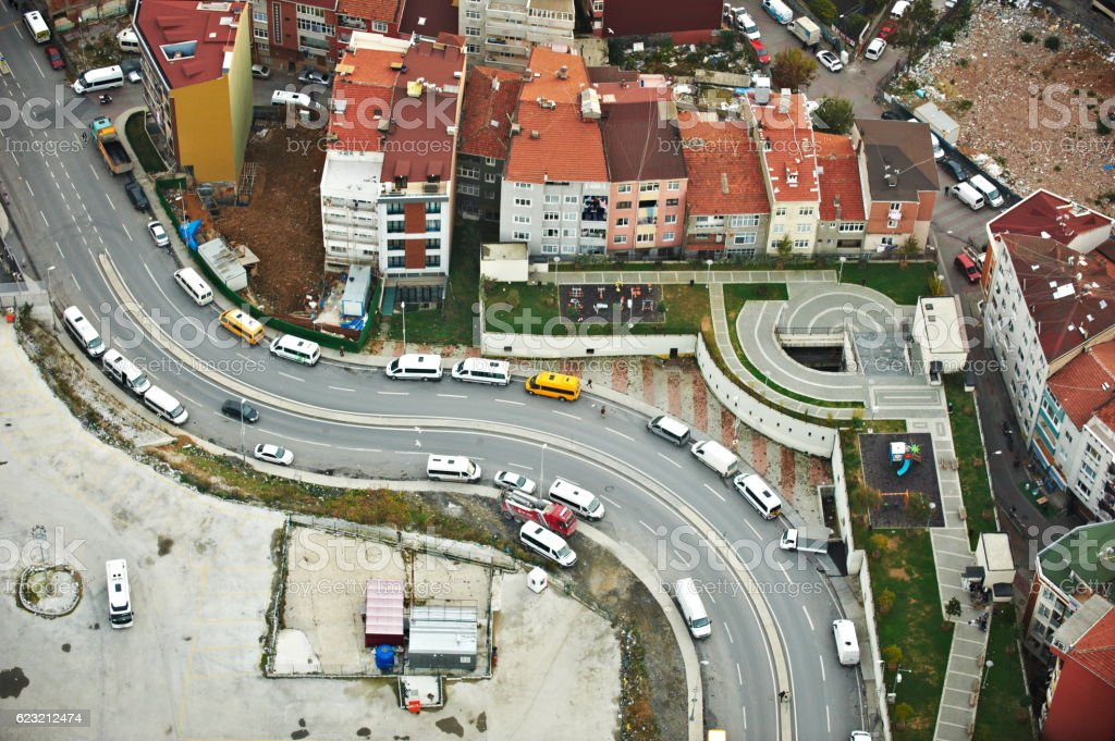Aerial View of Istanbul Traffic stock photo