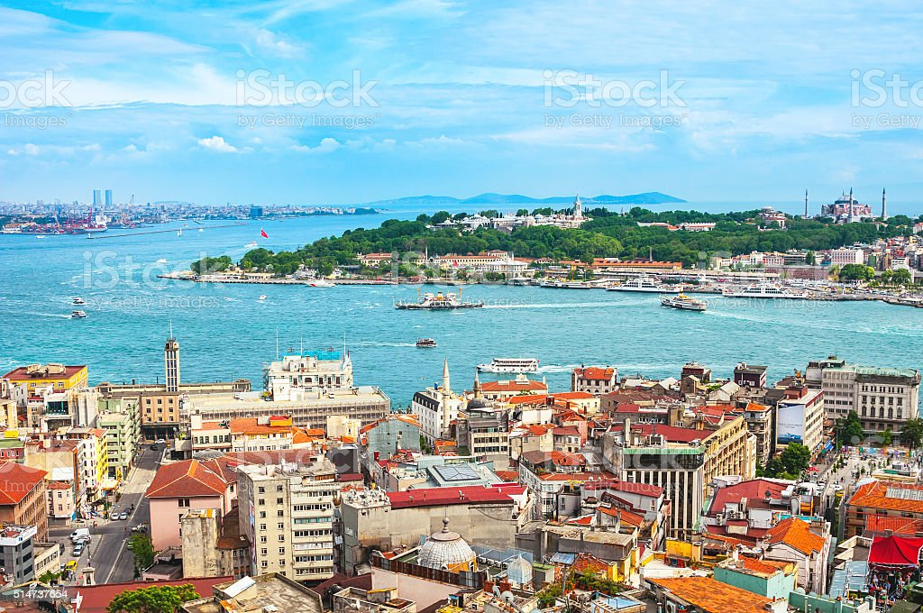 Aerial view of Istanbul, Turkey harbor stock photo