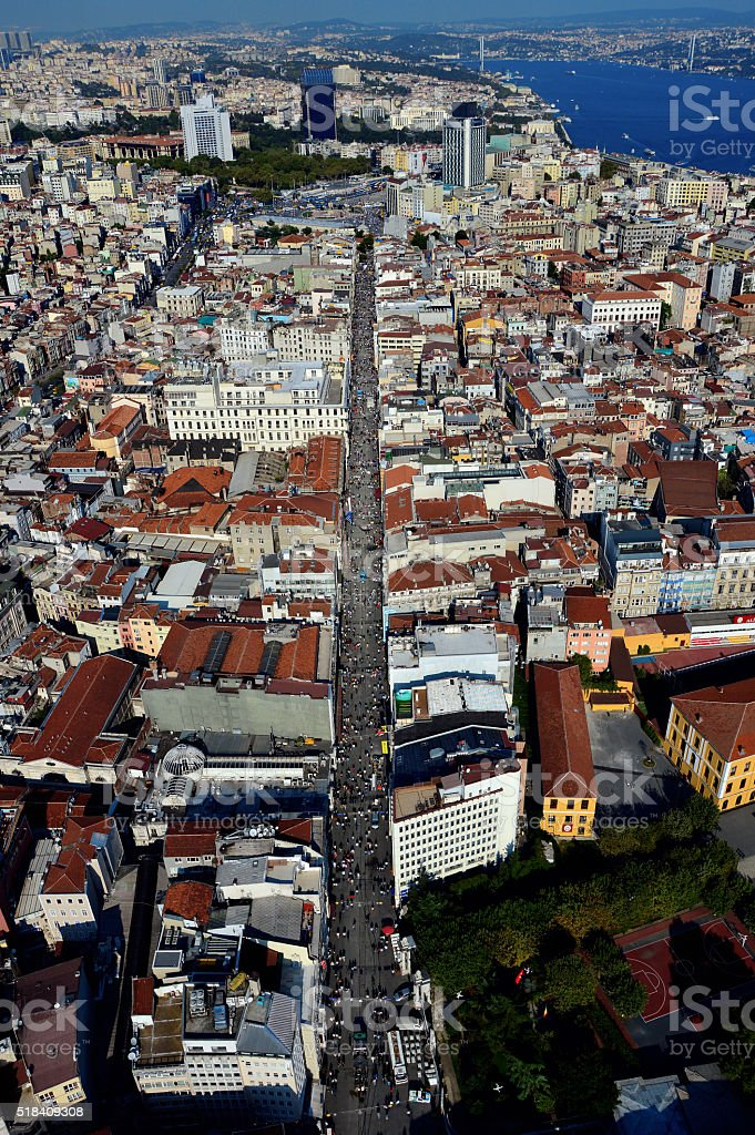 Aerial view of Istiklal Street, Istanbul stock photo