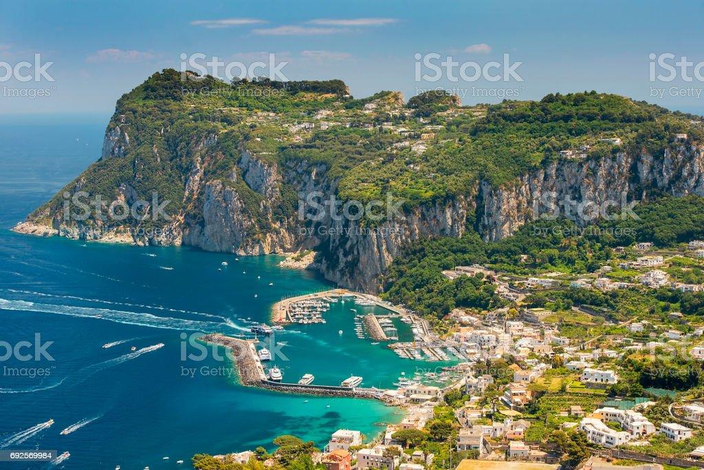 aerial view of italian Capri island, Campania region, Italy stock photo