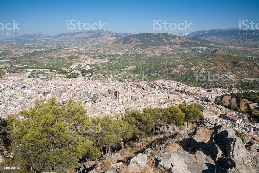 aerial view of Jaen city from Santa Catalina mountain stock photo