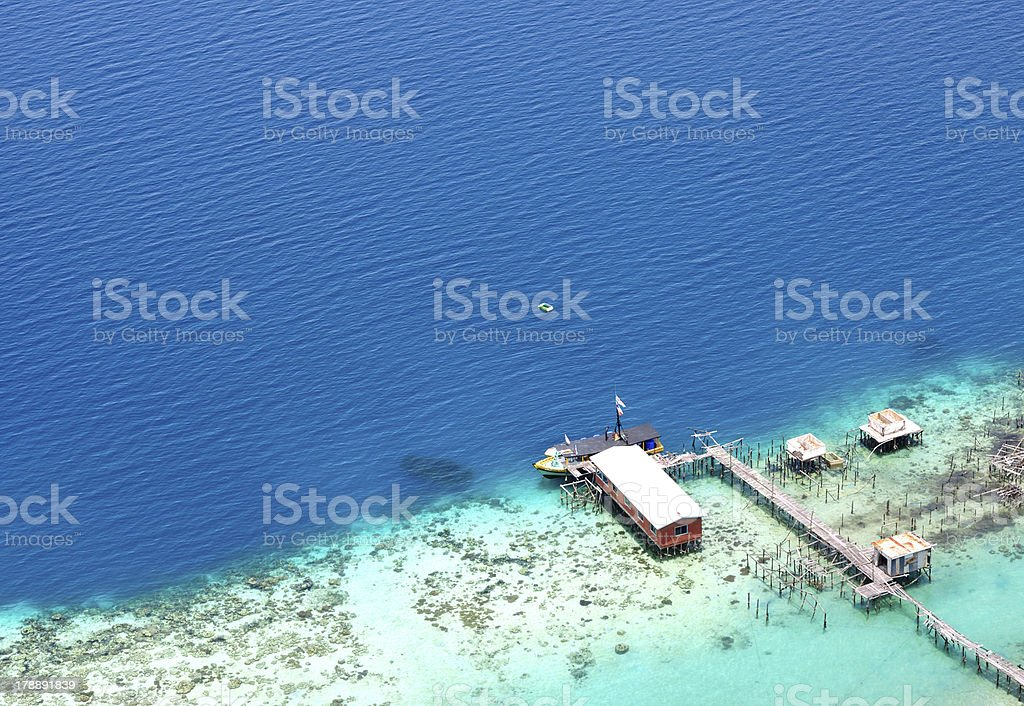 Aerial View of Jetty in Bohey Dulang Island, Semporna Sabah. royalty-free stock photo