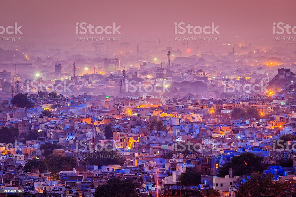 Aerial view of Jodhpur in twilight stock photo