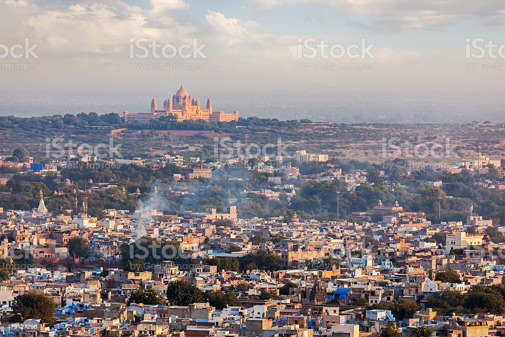 Aerial view of Jodhpur - the blue city. Rajasthan, India stock photo